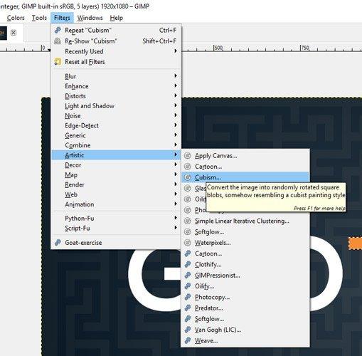 Apply the Cubism Filter GIMP