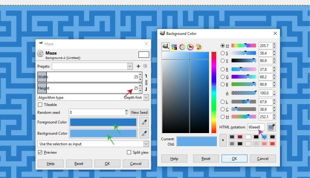 Maze Filter Dialogue Box