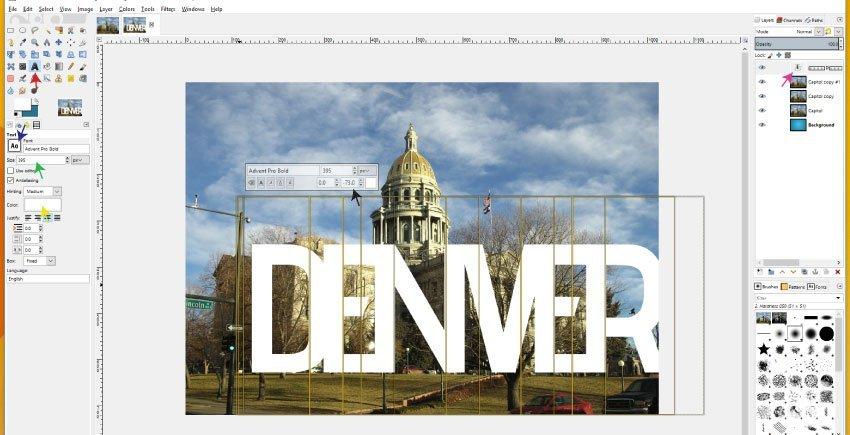 Text tool GIMP 2.9.8