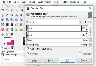 gaussian blur filter flyer tutorial gimp