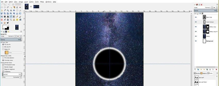 Fill Event Horizon Ellipse with White