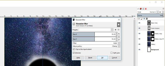 Filters Blur Gaussian Blur GIMP GEGL Filter