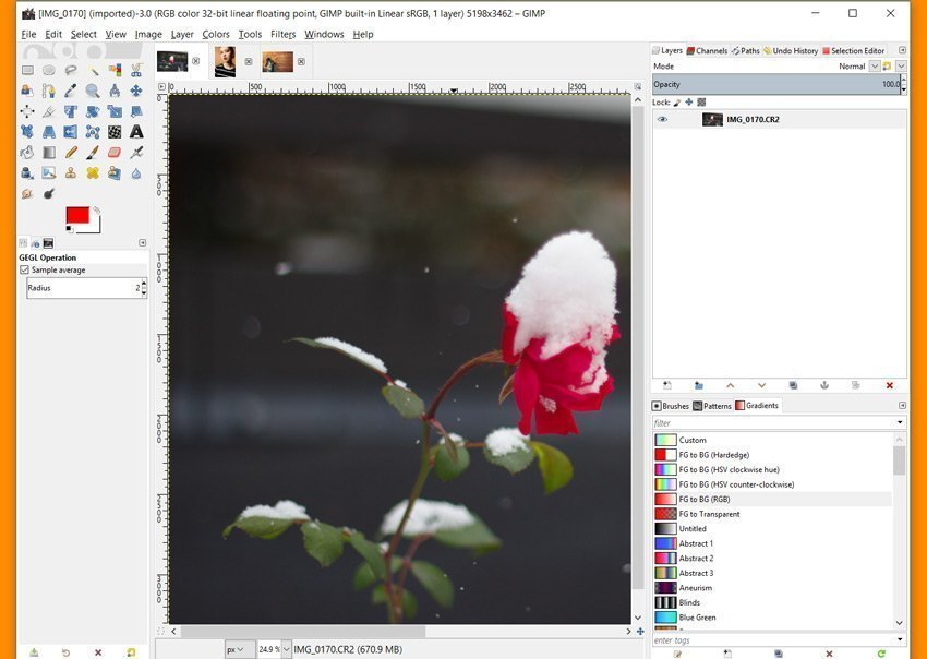 gimp how to bring up layer toolbar