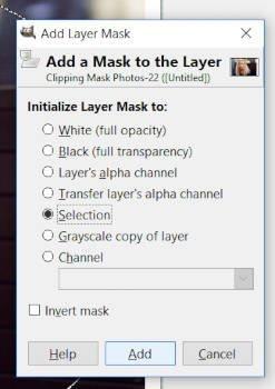 A rétegmaszk inicializálása a kiválasztásra GIMP 2 10 vágómaszk